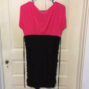 Say Anything Dresses - Say Anything Pink and Black Stretchy Dress